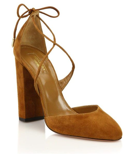 Aquazzura karlie suede lace-up pumps in cognac - Suede block heel pump with slender laces. Self-covered...