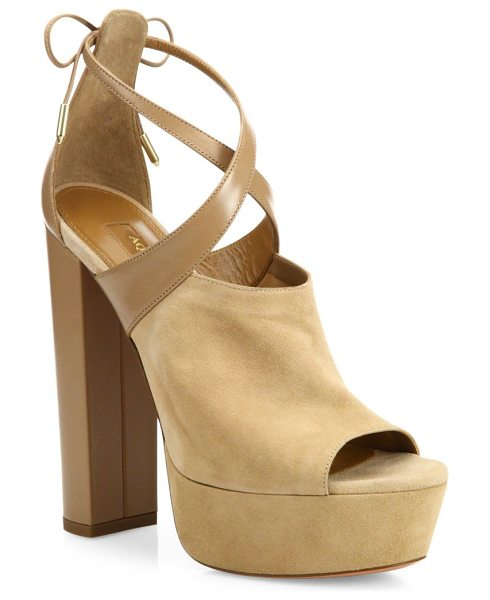 Aquazzura kaya plateau suede & leather platforms in biscotti beige - Refined platforms with chic tonal colorblocking....
