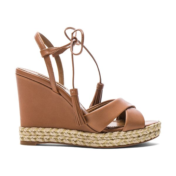Aquazzura Leather Paraty Espadrille Wedges in brown - Leather upper and sole.  Made in Spain.  Approx 13mm/...