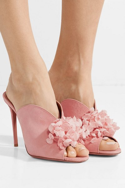 Aquazzura lily of the valley appliquéd suede mules in baby pink - Aquazzura's 'Lily of the Valley' mules will look so chic...