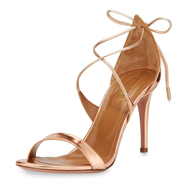 "Aquazzura Linda Metallic Leather 75mm Sandal in rose gold - Aquazzura metallic napa leather sandal. 3"" covered heel...."