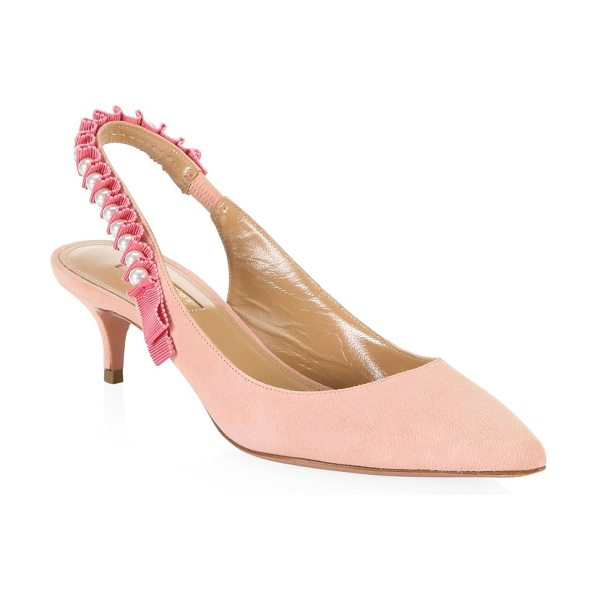AQUAZZURA love story leather slingback pumps - Leather slingback pumps with beads and grosgrain ribbon....
