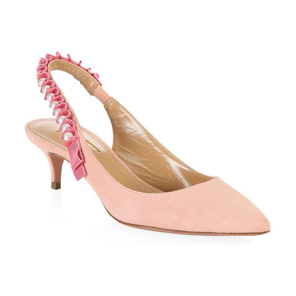 Aquazzura love story suede slingback pumps in pink