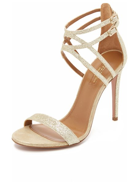Aquazzura Aquazzura Lucille Sandals in light gold - Glamorous glitter coated leather sandals by Aquazzura,...