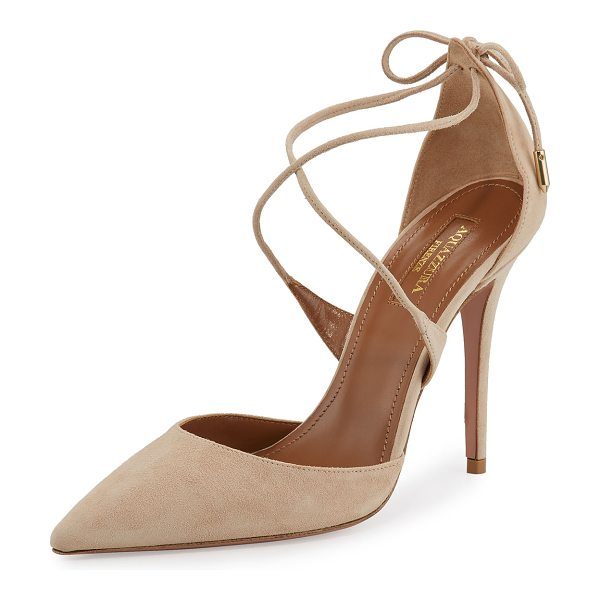 "Aquazzura Matilde Crisscross Suede 105mm Pump in nude - Aquazzura suede d'Orsay pump. 4"" covered heel. Pointed..."
