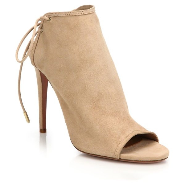 AQUAZZURA mayfair suede lace-up peep toe booties - Supple suede booties with chic lace-up back....