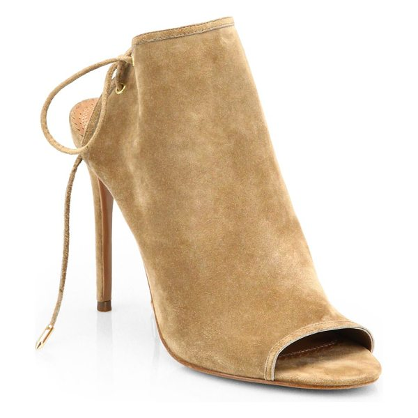 Aquazzura mayfair suede open-toe booties in beige - Crafted to last by Italian artisans, a sexy open-toe...