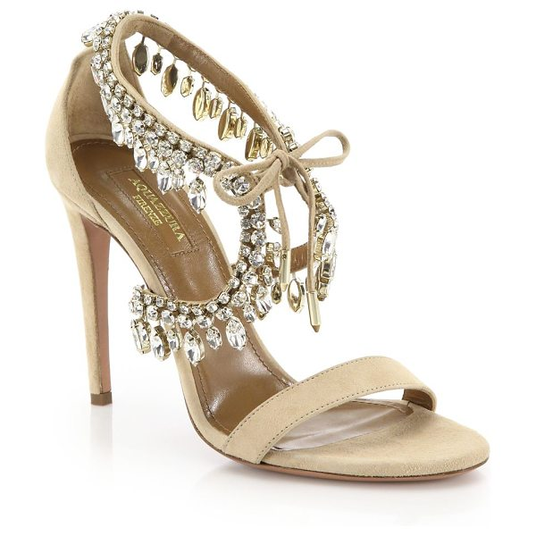 Aquazzura milla crystal fringe suede sandals in nude - Suede sandal with sparkling marquise crystal trim....
