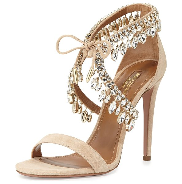 "Aquazzura Milla jeweled suede sandal in nude -  Aquazzura suede sandal with crystal trim. 4. 3"" covered..."
