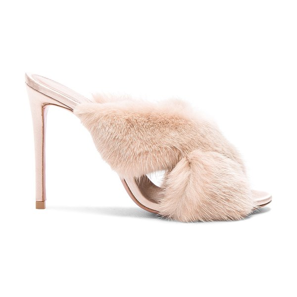 AQUAZZURA Mink Fur Purr Mules in neutrals - Real dyed mink fur upper with leather sole.  Made in...