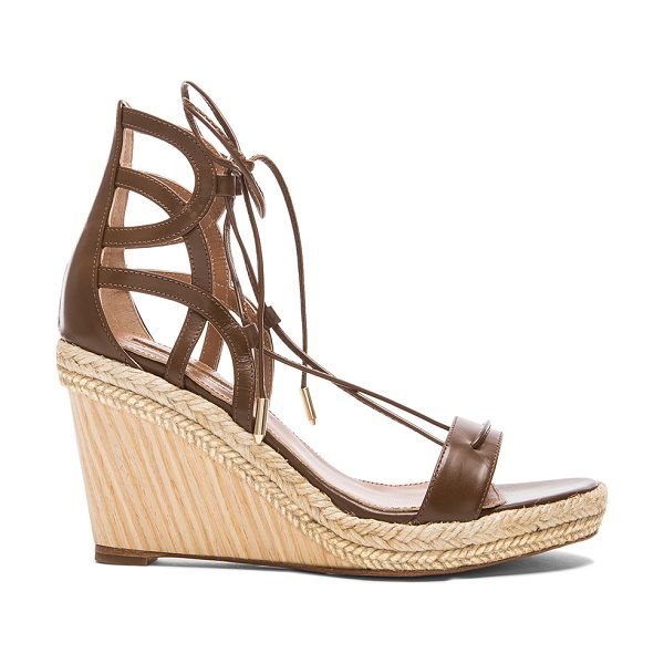 Aquazzura Mirage leather wedge espadrillas in brown - Leather upper and sole.  Made in Spain.  Approx 90mm/...