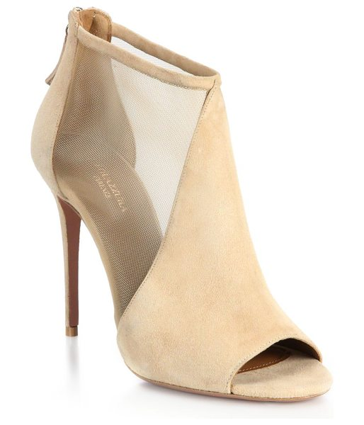 AQUAZZURA Miranda suede & mesh peep-toe booties in nude - Sheer-paneled peep-toe booties in soft suedeSelf-covered...