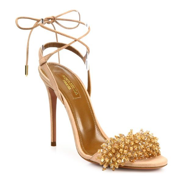Aquazzura monaco crystal & suede sandals in peony pink - Sultry suede sandal with crystal-embellished strap....