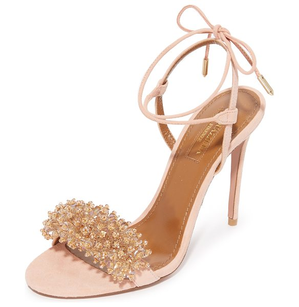 AQUAZZURA Monaco sandals - Iridescent crystals and tiny metallic beads accent the...