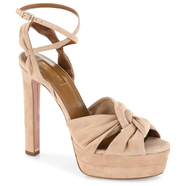 AQUAZZURA movie star suede platform sandals in biscotti - Twisted suede platform sandal with ankle-wrap strap....