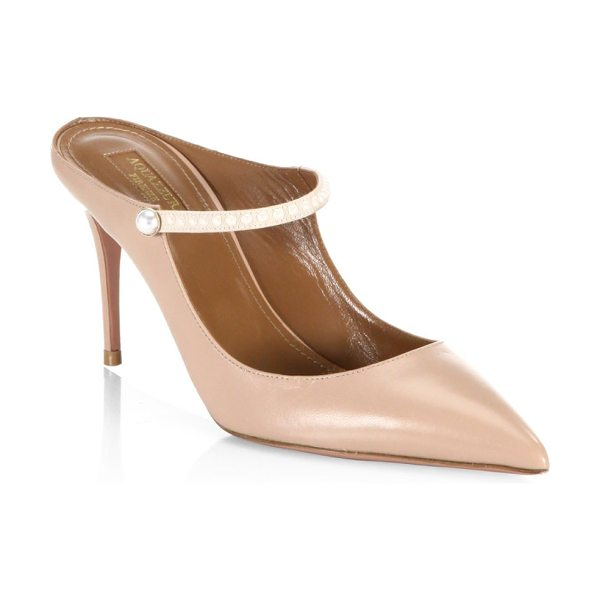 Aquazzura nolita leather stiletto mules in powder pink - Chic leather stilleto mules with embellished accents....