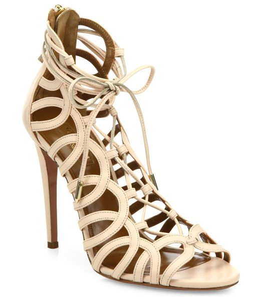 AQUAZZURA ooh la la leather sandals - Sexy cutout stilettos with chic lace-up front....
