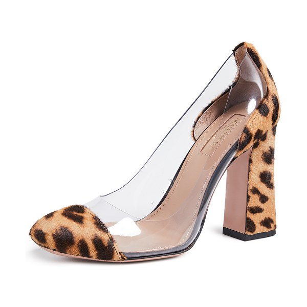 Aquazzura optic 105 pumps in caramel leopard - This item cannot be shipped outside the USA Fur: Dyed...