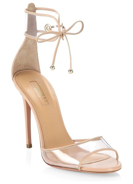 Aquazzura optic pink leather sandals in powder pink - Soft pink leather trims stylish illusion stilettos....