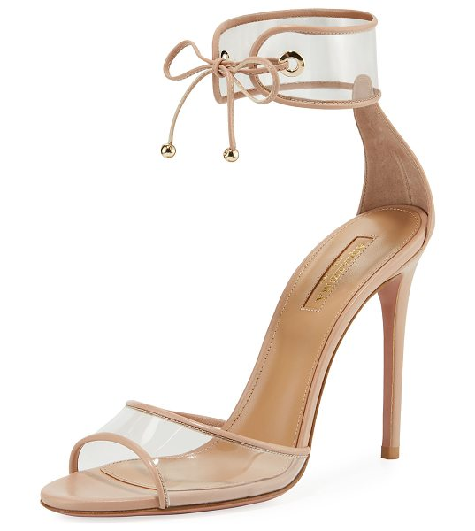 "Aquazzura Optic PVC 105mm Sandal in powder pink - Aquazzura PVC sandal with leather trim. 4.3"" covered..."