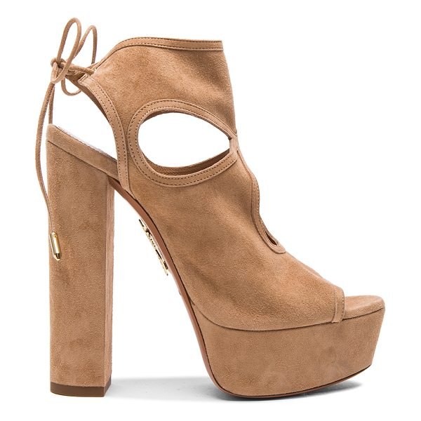 Aquazzura Platform Sexy Thing Suede Heels in neutrals - Suede upper with leather sole.  Made in Italy.  Approx...