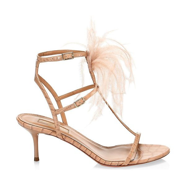 Aquazzura ponza feather-trimmed croc-embossed leather sandals in tan