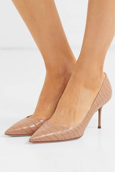 Aquazzura purist 75 croc-effect leather pumps in beige