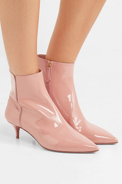 Aquazzura quant patent-leather ankle boots in antique rose - Aquazzura's signature motif is a gold pineapple which...