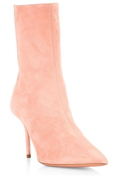 Aquazzura saint honore suede booties in french rose - Luxurious point toe booties crafted out of suede....