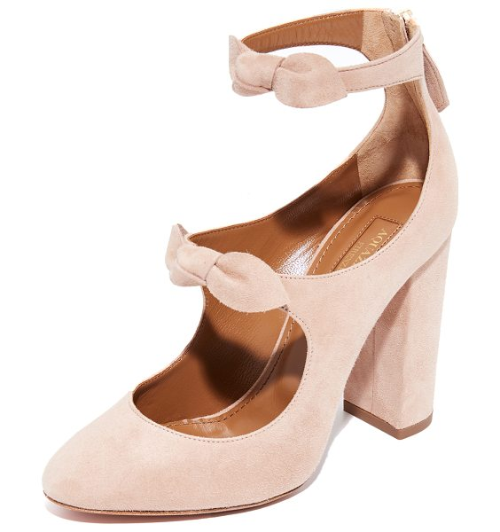 Aquazzura sandy 105 pumps in powder pink - Soft, knotted bows detail the scalloped top line on...