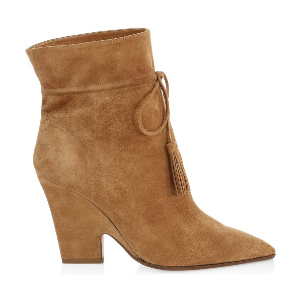 Aquazzura sartorial tassel-trimmed suede ankle boots in camel