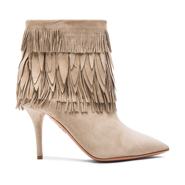 Aquazzura Sasha fringe suede booties in gray - Suede upper with leather sole.  Made in Italy.  Shaft...