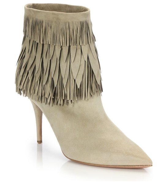 Aquazzura Sasha fringe-trim suede booties in beige - Thin-cut, petal-shaped fringe adds stylish detail to...