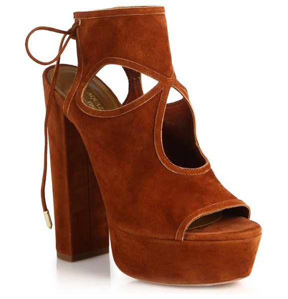 AQUAZZURA Sexy thing cutout suede tie-back platform sandals - Unabashedly 70's-style platform sandal in cutout...