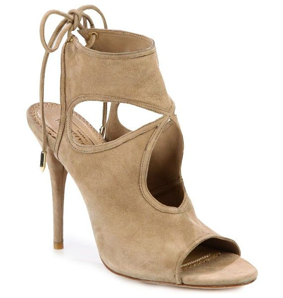Aquazzura sexy thing cutout suede tie-back sandals in nude