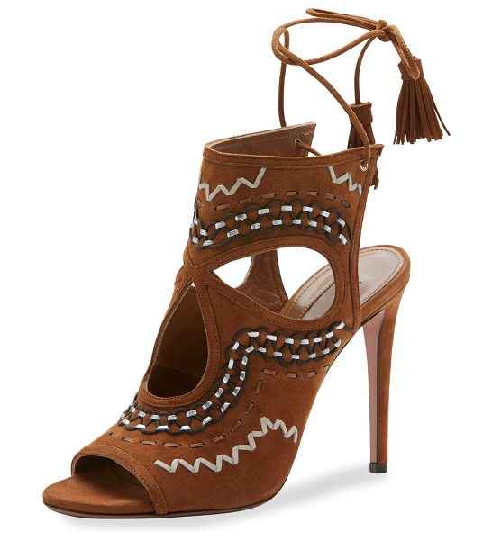 "Aquazzura Sexy Thing Folk Cutout 105mm Sandal in cognac - Aquazzura embroidered suede sandal. 4.1"" covered heel...."