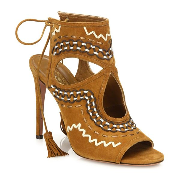 Aquazzura sexy thing folk suede sandals in cognac - Boho-chic stitched suede sandal with teardrop cutouts....