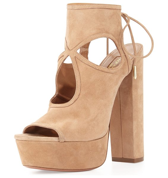 "Aquazzura Sexy Thing Plateau 140mm Sandal in tan - Aquazzura kid suede sandal. 5.5"" covered block heel;..."