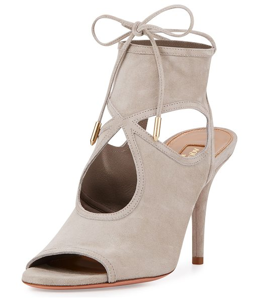 "Aquazzura Sexy Thing Suede 85mm Sandal in light grey - Aquazzura kid suede sandal. 3.3"" covered heel. Open toe...."