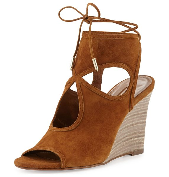 "Aquazzura Sexy Thing Suede 85mm Wedge Sandal in cognac - Aquazzura kid suede sandal. 3.3"" stacked wedge heel...."