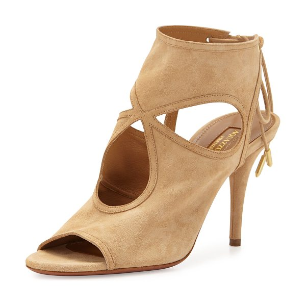 "Aquazzura Sexy Thing Suede Cutout Sandal in nude - Aquazzura suede sandal. 3.4"" covered stiletto heel...."
