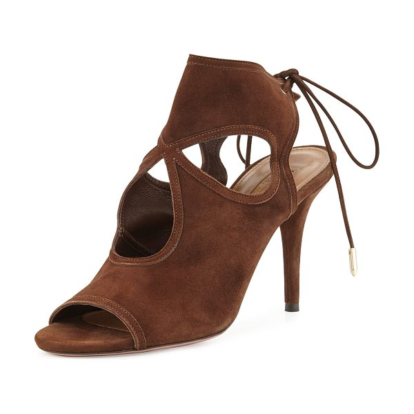 "Aquazzura Sexy Thing Suede Cutout Sandal in chocolate - Aquazzura suede sandal. 3.3"" covered heel. Layered..."