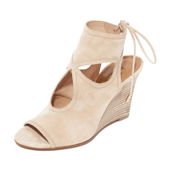 AQUAZZURA sexy thing wedge booties - A cloverleaf cutout gives these soft suede Aquazzura...