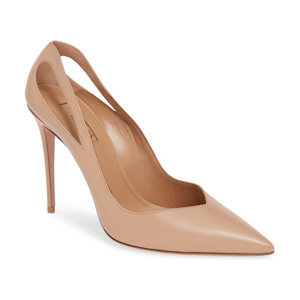 Aquazzura shiva cutout pointy toe pump in beige