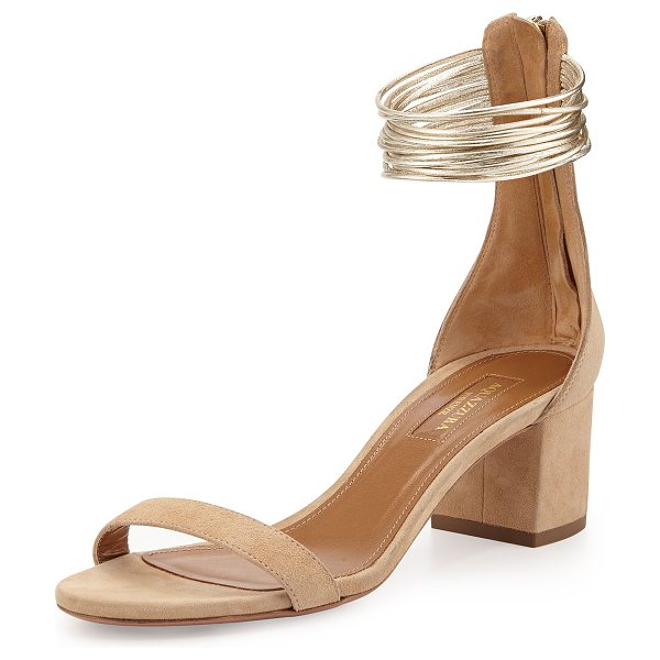 "Aquazzura Spin Me Around City Sandal in nude - Aquazzura suede city sandal. 2 1/4"" covered block heel...."