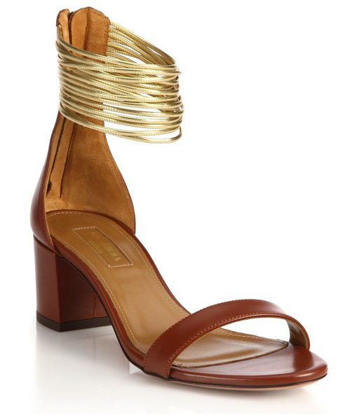 Aquazzura Spin me around leather & lame sandals in luggage - Modest mid-heel sandals secured by metallic...