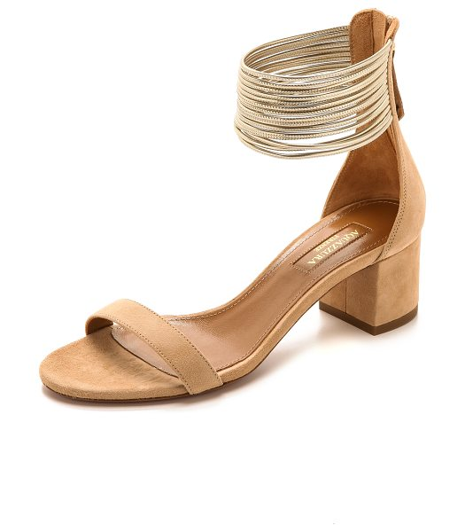 AQUAZZURA Spin me around sandals - A cluster of slender, metallic leather straps form a...