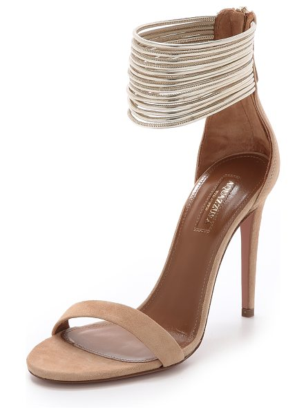 Aquazzura Spin me around sandals in nude/gold - Skinny metallic strands form a wide ankle cuff on these...