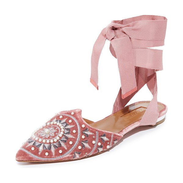 Aquazzura stellar flats in antique rose - Plush velvet Aquazzura flats styled with a pointed toe...
