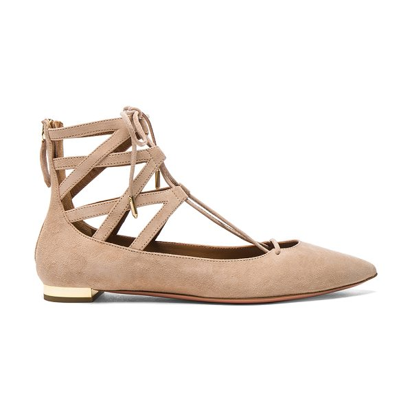 Aquazzura Suede Belgravia Flats in nude - Suede upper with leather sole. Made in Italy. Approx...
